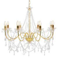 vidaXL Lustr s korálky zlatý 8 x žárovky E14