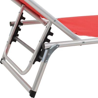 vidaXL Skládací zahradní lehátko se stříškou hliník a textilen červené