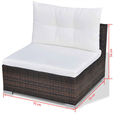 vidaXL 10dílná zahradní sedací souprava s poduškami polyratan hnědá