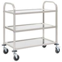 vidaXL 3patrový kuchyňský vozík 87 x 45 x 83,5 cm nerezová ocel