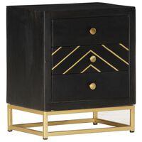 vidaXL Noční stolek černozlatý 40x30x50 cm masivní mangovníkové dřevo