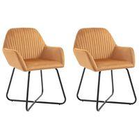 vidaXL Jídelní židle 2 ks okrové samet