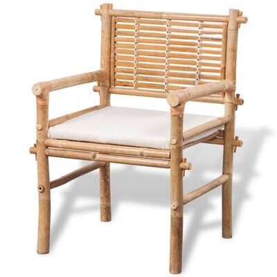 vidaXL 3dílný bistro set s poduškami bambusový