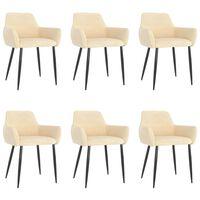 vidaXL Jídelní židle 6 ks krémové samet