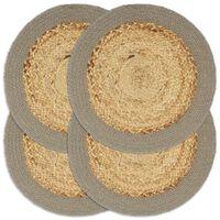 vidaXL Prostírání 4 ks přírodní a šedé 38 cm juta a bavlna