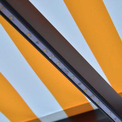 vidaXL Ručně zatahovací markýza s LED světlem 300 x 250 cm žluto-bílá, Žluto-bílá