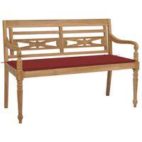 vidaXL Lavice Batavia s červenou poduškou 120 cm masivní teakové dřevo