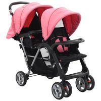 vidaXL Tandemový kočárek růžovočerný ocel