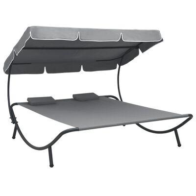 vidaXL Zahradní postel s baldachýnem a polštáři šedá