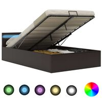 vidaXL Rám postele s LED úložný prostor šedý umělá kůže 140 x 200 cm