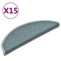 vidaXL Kobercové nášlapy na schody 15 ks modrá 56 x 17 x 3 cm