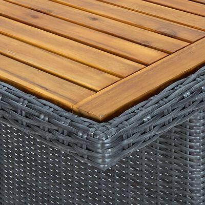 vidaXL Zahradní stůl tmavě šedý polyratan a masivní akáciové dřevo