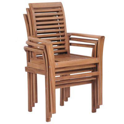 vidaXL Stohovatelné jídelní židle 4 ks masivní teak