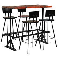 vidaXL 5dílný barový set masivní recyklované dřevo vícebarevný