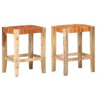 vidaXL Barové stoličky 2 ks hnědé pravá kůže 60 cm