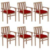 vidaXL Stohovatelné zahradní židle s poduškami 6 ks masivní teak