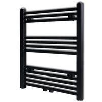 Černý žebříkový radiátor na ručníky rovný ústřední topení 600x764 mm