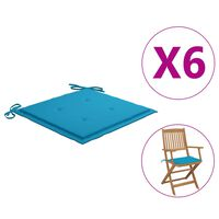vidaXL Podušky na zahradní židle 6 ks modré 40 x 40 x 4 cm textil