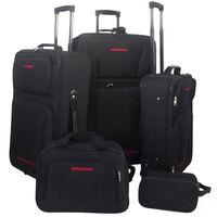 vidaXL Pětidílný set cestovních kufrů černý