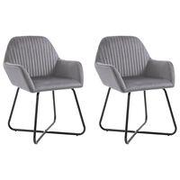 vidaXL Jídelní židle 2 ks šedé samet