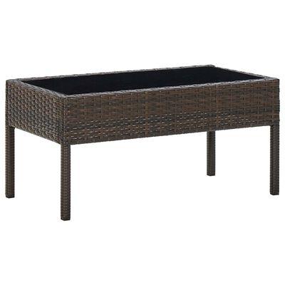 vidaXL Zahradní stůl hnědý 75 x 40 x 37 cm polyratan