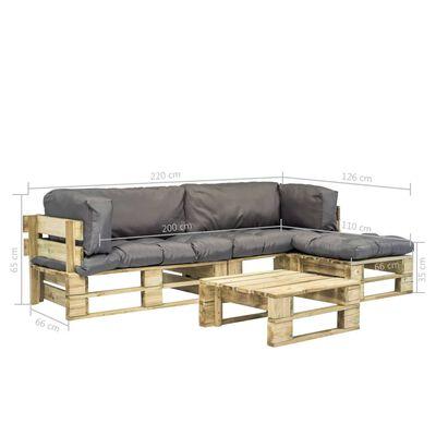 vidaXL 4dílná zahradní sedací souprava z palet a šedé podušky dřevo