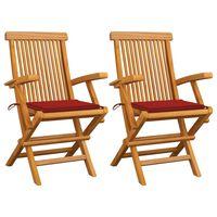 vidaXL Zahradní židle s červenými poduškami 2 ks masivní teak