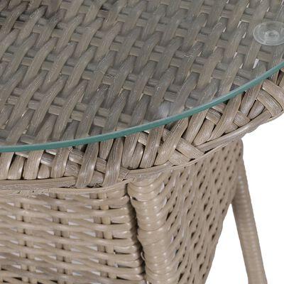 vidaXL 3dílný bistro set s poduškami a polštáři hnědý polyratanový