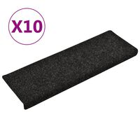 vidaXL Nášlapy na schody 10 ks černé 65 x 25 cm vpichované
