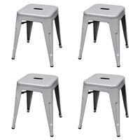 vidaXL Stohovatelné stoličky 4 ks šedé ocel