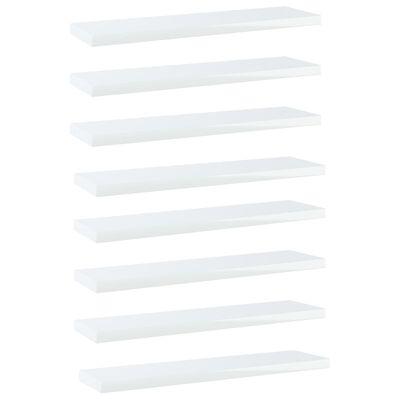 vidaXL Přídavné police 8 ks bílé vysoký lesk 40x10x1,5 cm dřevotříska