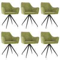 vidaXL Jídelní židle 6 ks světle zelené samet