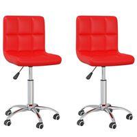 vidaXL Otočné jídelní židle 2 ks červené umělá kůže