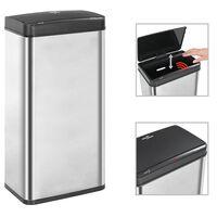 vidaXL Odpadkový koš s automatickým senzorem stříbrný černý nerez 80 l