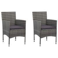 vidaXL Zahradní jídelní židle 2 ks polyratan šedé
