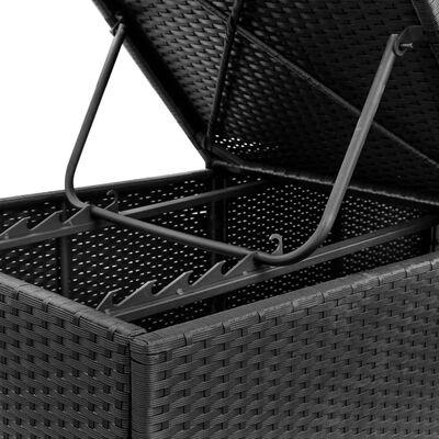 vidaXL Zahradní lehátko s poduškou polyratan černé