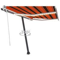 vidaXL Ručně zatahovací markýza s LED světlem 350x250 cm oranžovohnědá