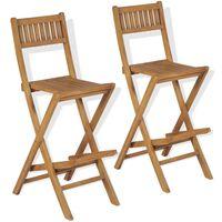 vidaXL Skládací zahradní barové stoličky 2 ks masivní teak
