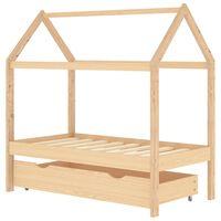 vidaXL Rám dětské postele se zásuvkou masivní borovice 70 x 140 cm