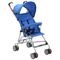 vidaXL Skládací kočárek ocelový modrý