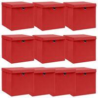 vidaXL Úložné boxy s víky 10 ks červené 32 x 32 x 32 cm textil