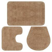 vidaXL Sada koupelnových předložek 3 kusy textilní béžová