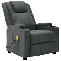 vidaXL Massage Reclining Chair Anthracite Faux Leather