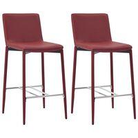 vidaXL Barové stoličky 2 ks vínové umělá kůže