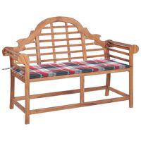 vidaXL Zahradní lavice + červená károvaná poduška 120 cm masivní teak