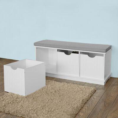 SoBuy FSR30-W Bedna na hračky hrací truhla šatní lavice