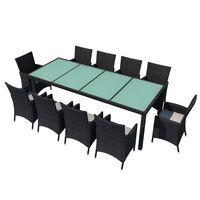 vidaXL 11dílný zahradní jídelní set s poduškami polyratan černý