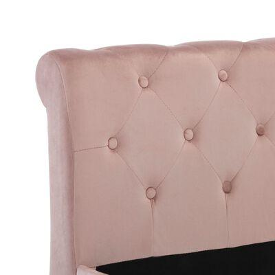vidaXL Rám postele růžový samet 200 x 200 cm