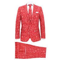vidaXL 2dílný pánský vánoční oblek a kravata velikost 48 dárky červený