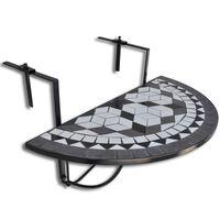 vidaXL Závěsný stolek na balkon černo-bílý mozaika